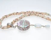 Daybreak Moon, Beadweave Choker Necklace with Mother of Pearl Pendant