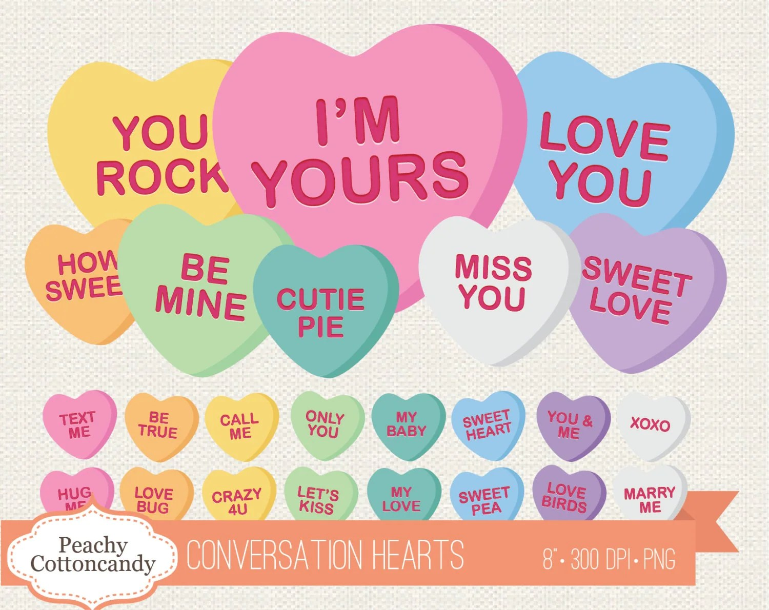 Buy 2 Get 1 Free Digital Conversation Hearts Candy Clipart