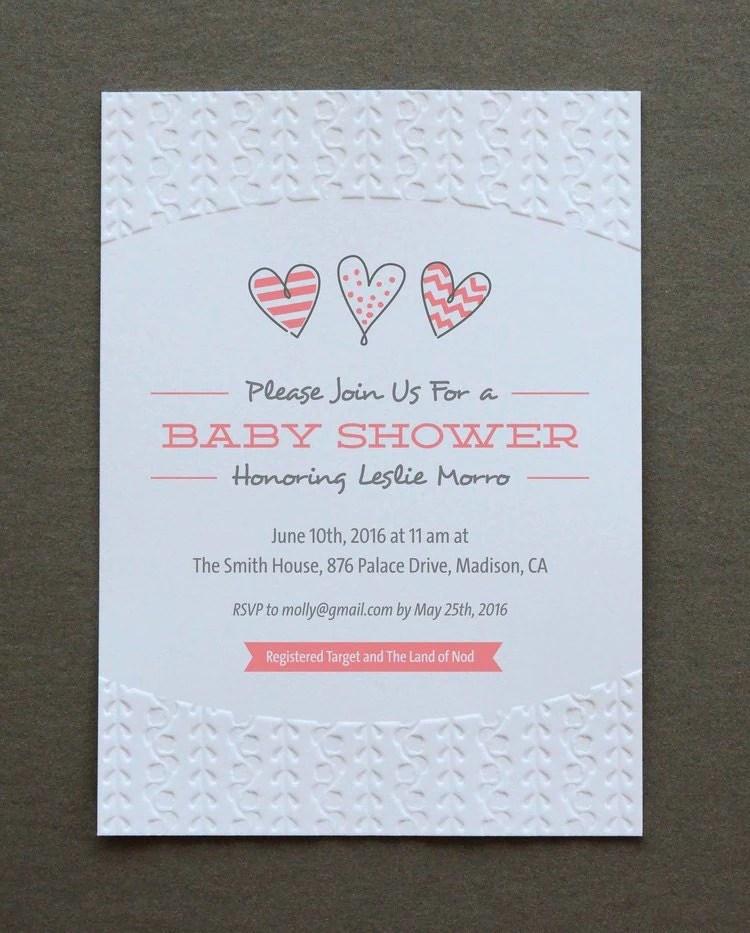 baby shower invitations blind embossed letterpress invitations