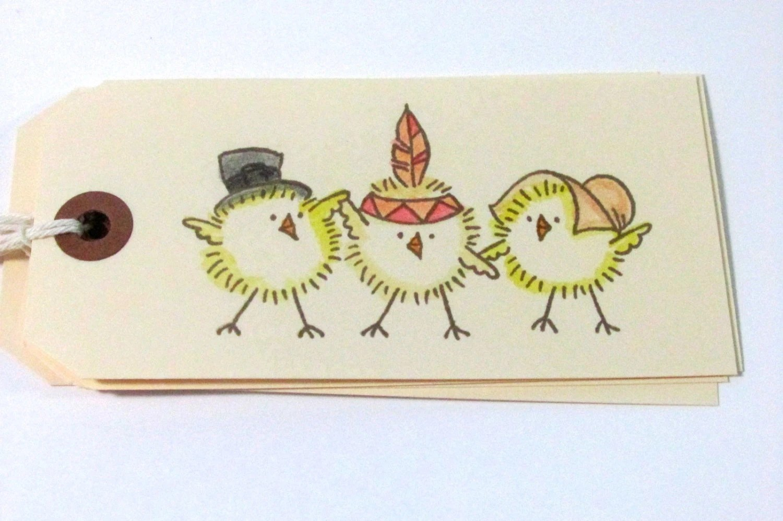 Handmade tags harvest thanksgiving chicks pilgrims for Custom tags for crafts