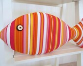 Striped Fish Pillow - Summer Decor - Ice Cream Colors - Hilton Head Decor