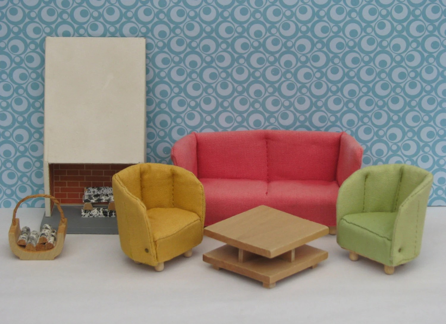 Doll House Vintage Living Room Set 1970s Couch Chairs