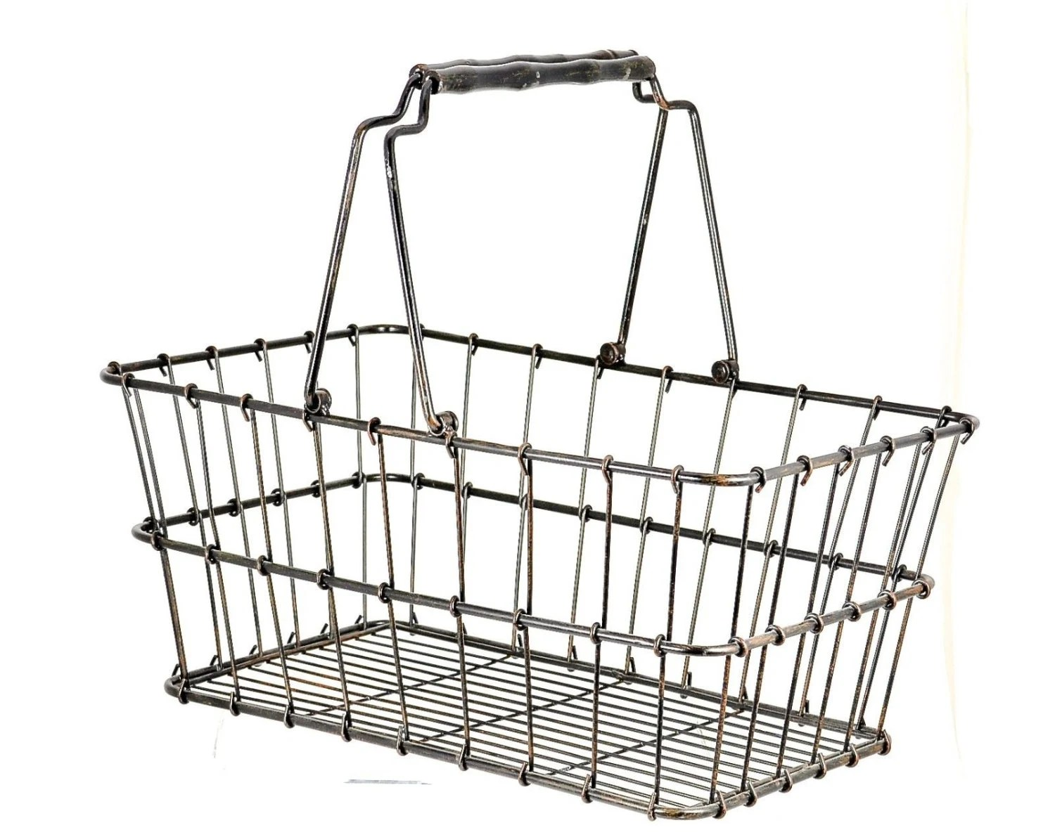 Large Vintage Wire Grocery Basket With Wood Handles