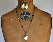 Vintage Black and Ivory Kitty Cat Cameo Necklace and Earrings - Vintage Assemblage