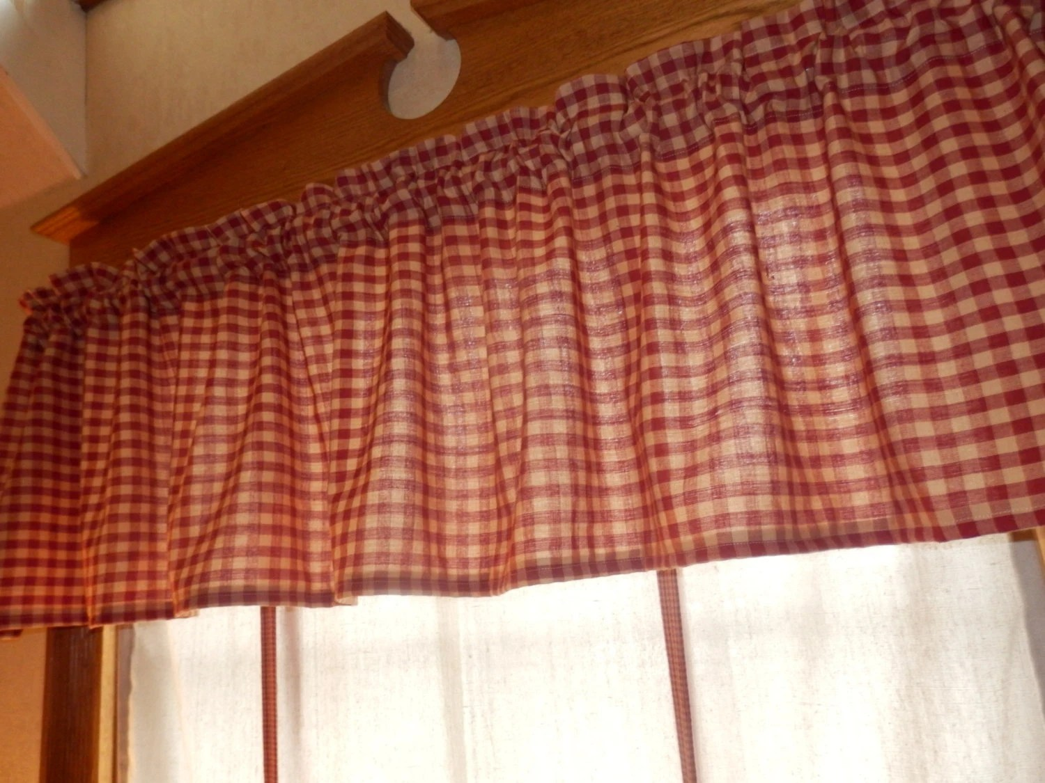 Primitive Country Curtain Valance In Homespun Fabric 72