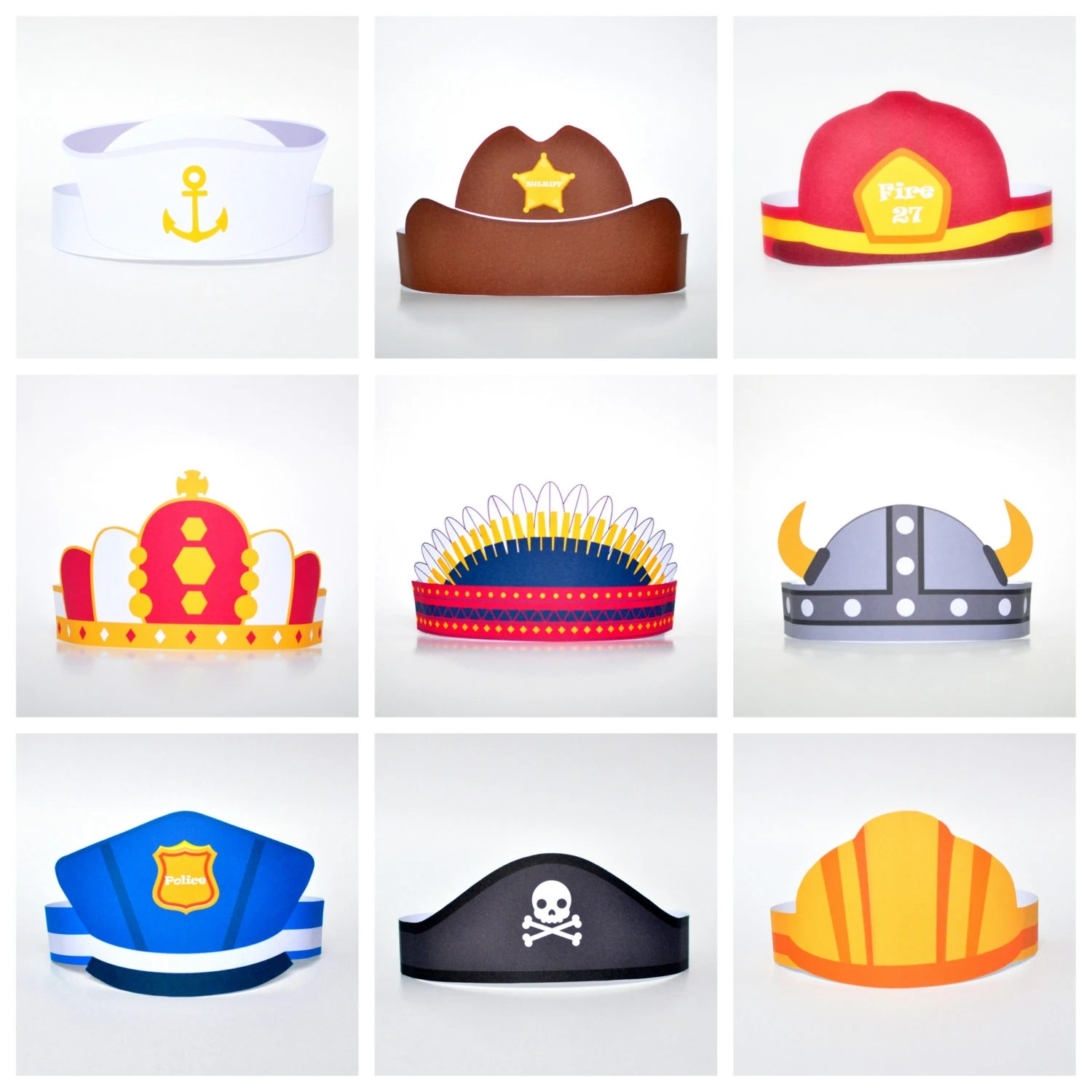 Paper Hats Set For Boy Diy Template Kit Photo Session Hats