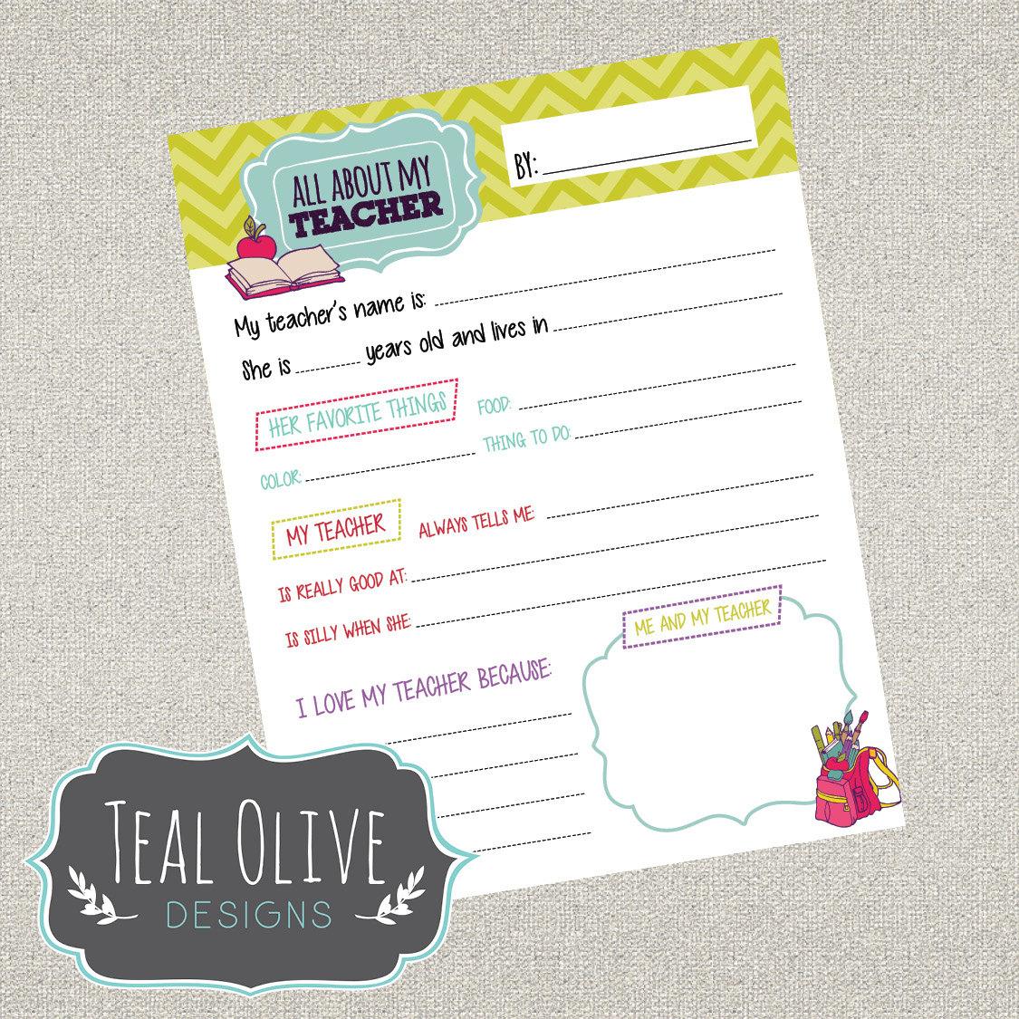 All About My Teacher Questionnaire Printables Teacher