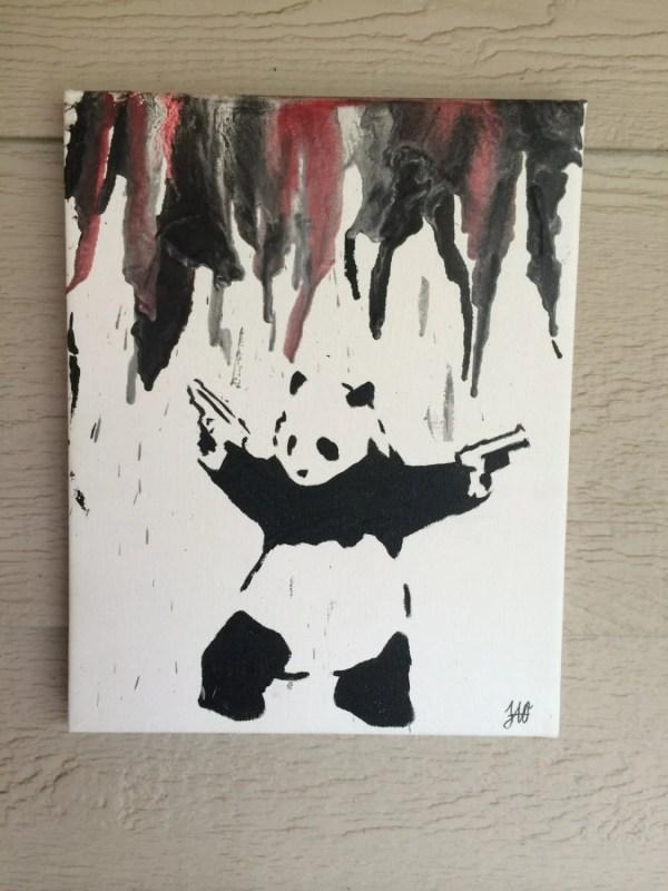Banksy Panda Mixed Media Original Painting 11x14 Canvas Melted