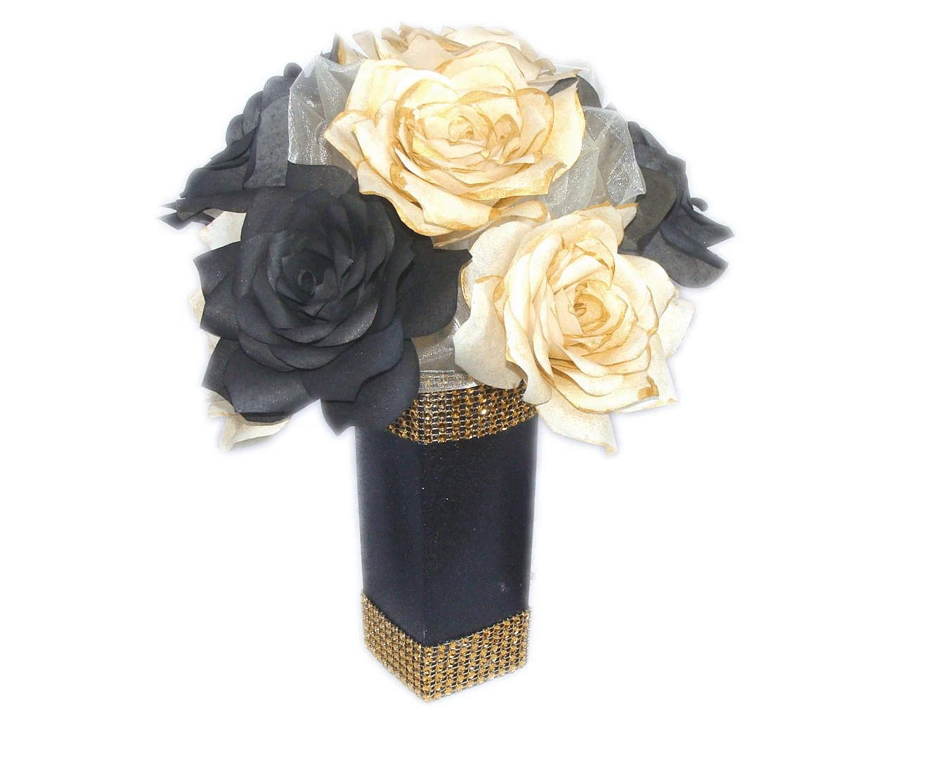 Items Similar To Black And Gold Floral Arrangement, Gold
