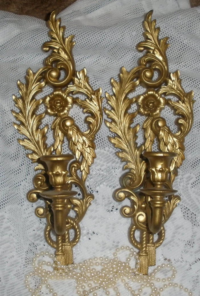 Vintage Pair Gold Wall Sconces Candle Holders Syroco Cottage on Wall Sconces Candle Holders id=33131