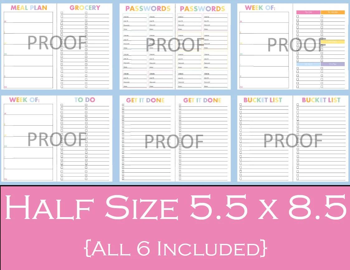 Ultimate Half Size Printable Planner Bundle 5 5 X 8 5