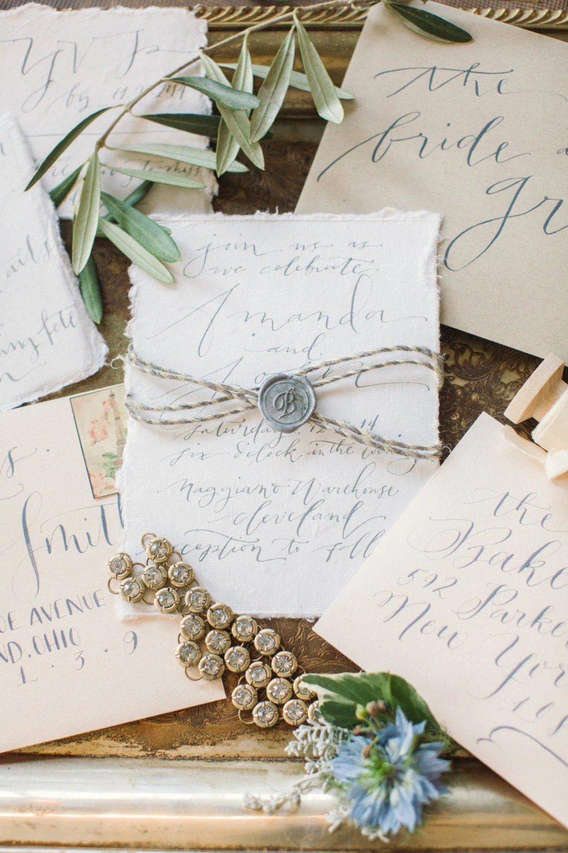 custom calligraphy wedding invitation handlettered on