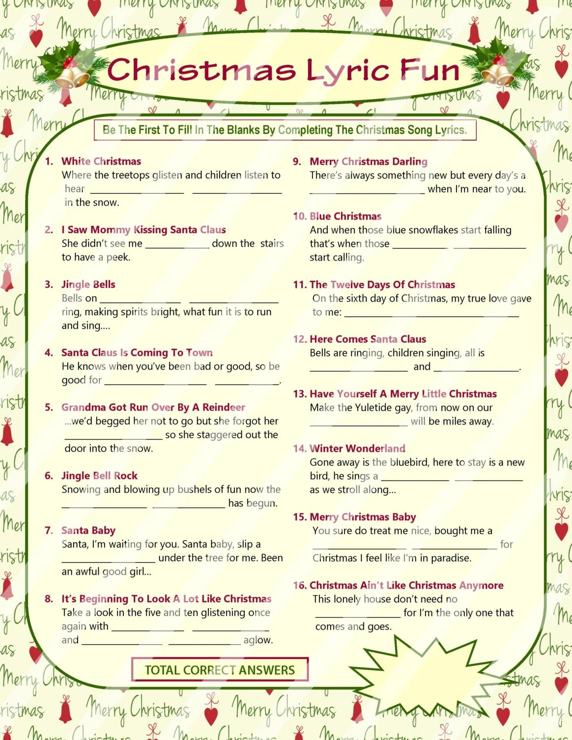 Christmas Lyrics Game Christmas Song Game Christmas Carol