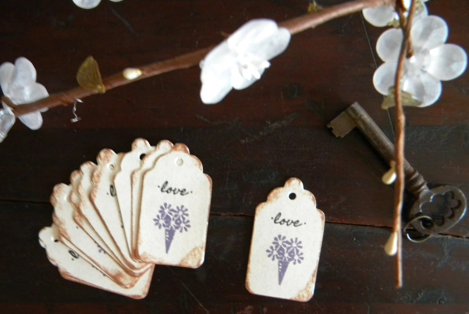 Purple Flowers Wedding Gift Tags Favors Hang Tags By