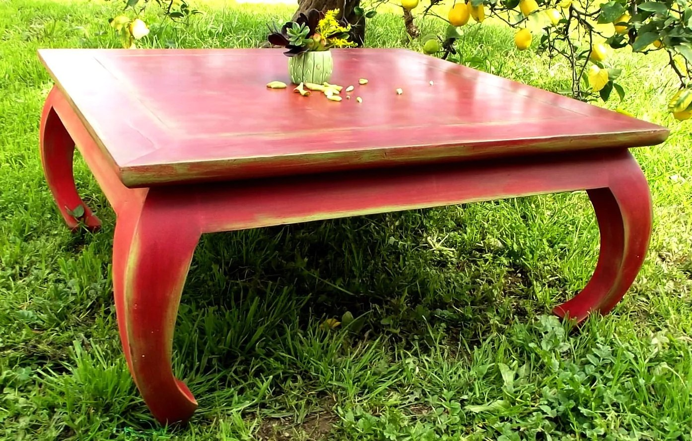 Vintage Solid Wood Square Coffee Table Painted Red Distressed Provincial Rustic Haute Juice
