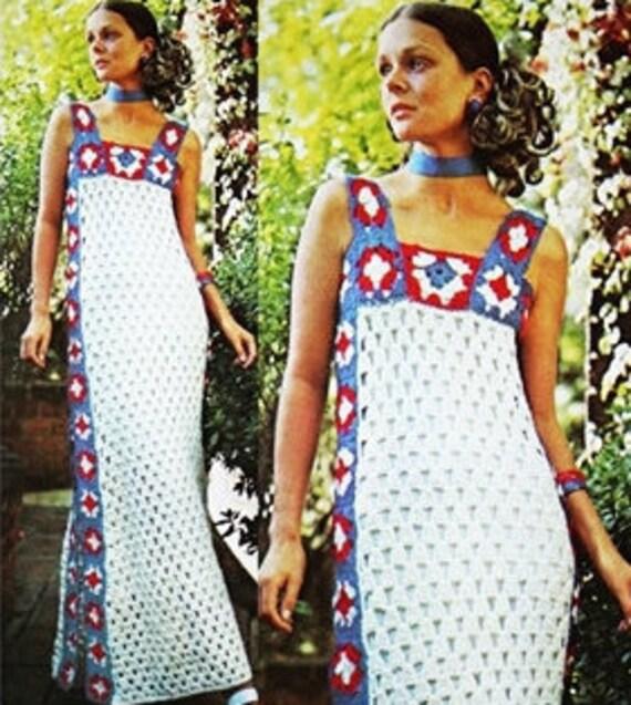 Crochet Sundress Pattern - USA Flag Dress - Granny Squares - Vintage Pattern - PDF Instant Download - Digital Pattern - DIY Pattern - Vtg