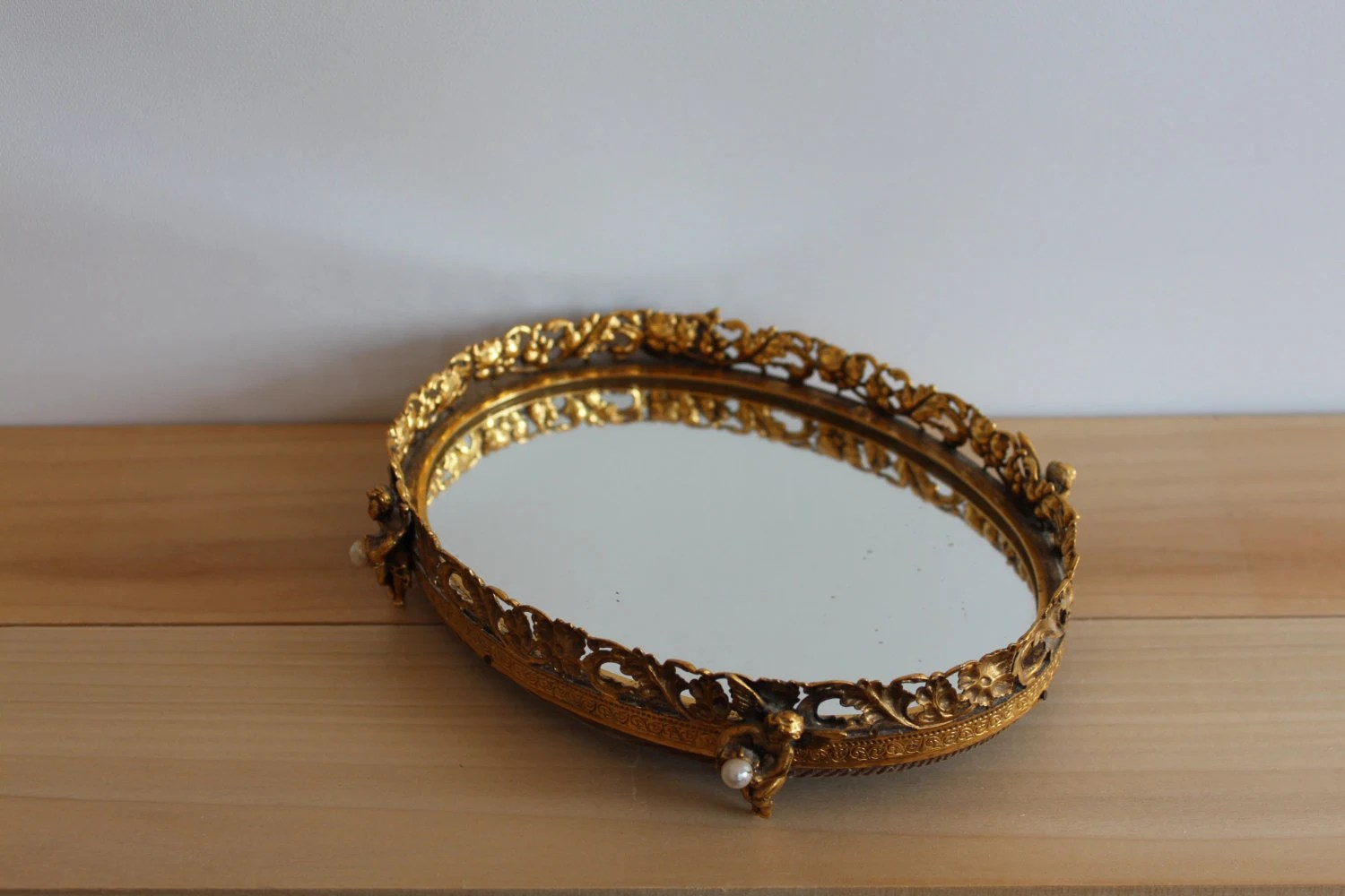 Small Vintage Mirrored Vanity Tray With By BlueCabinReverie