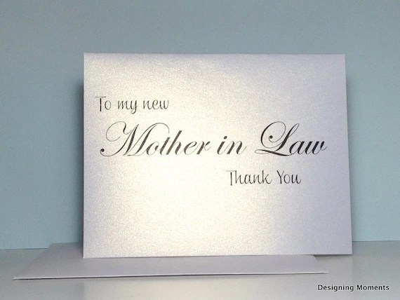 Items similar to Mother in Law Thank You Card, Wedding ...