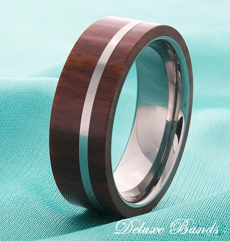 Wood Inlay Mens Tungsten Wedding Ring Tungsten Wood Band Mens