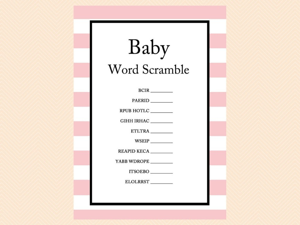 Scramble Baby Word Scramble Printable Baby Shower Games