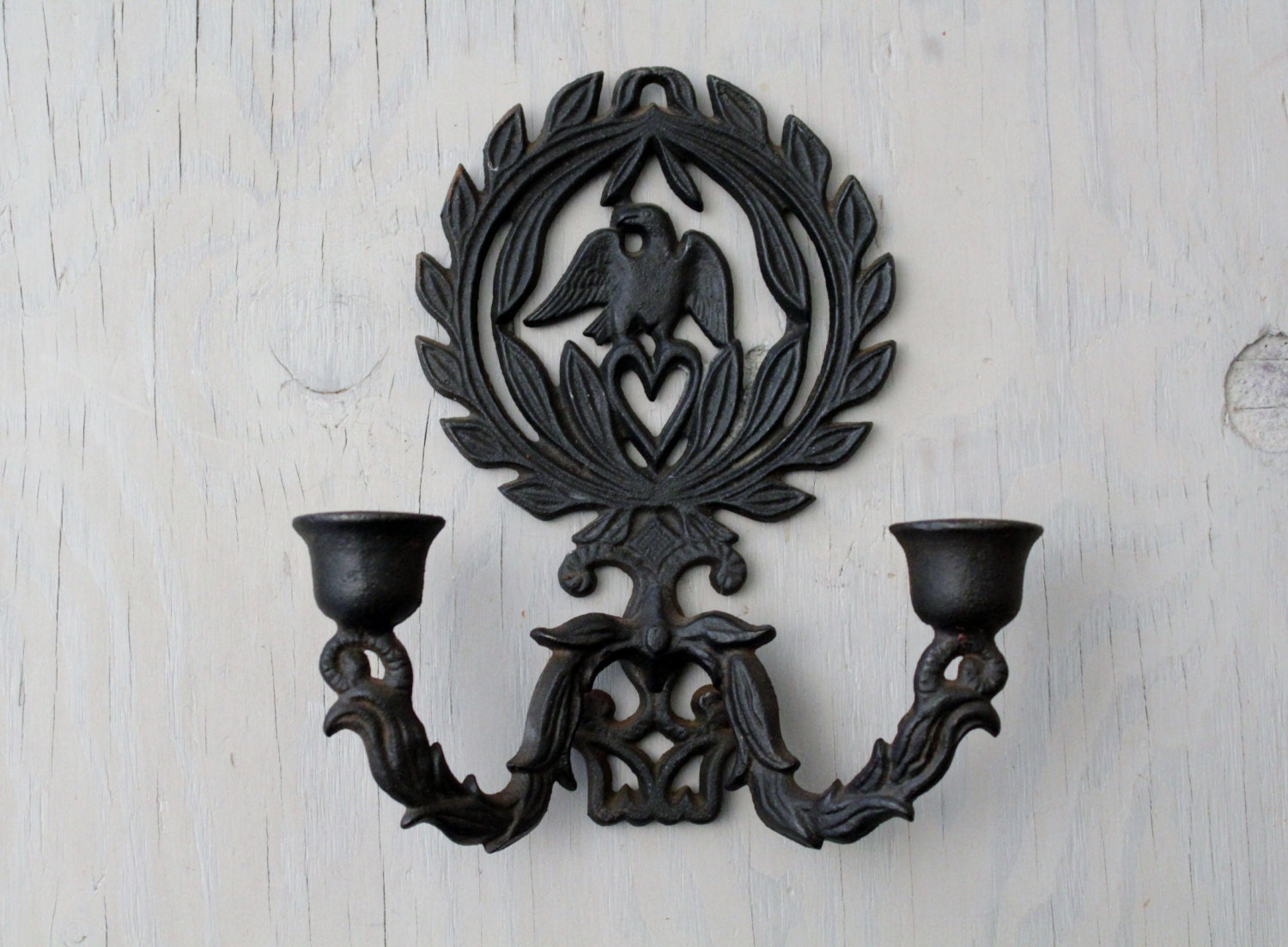 Vintage Cast Iron Wall Sconce Candle Holder Cast Iron on Antique Wrought Iron Wall Candle Holders id=12477
