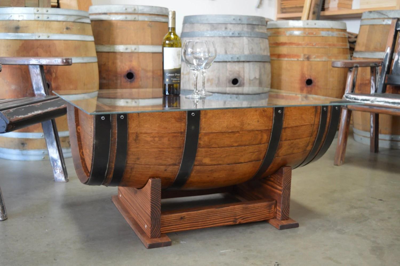 Wine Barrel Coffee Table Glass Top Cork Storage By