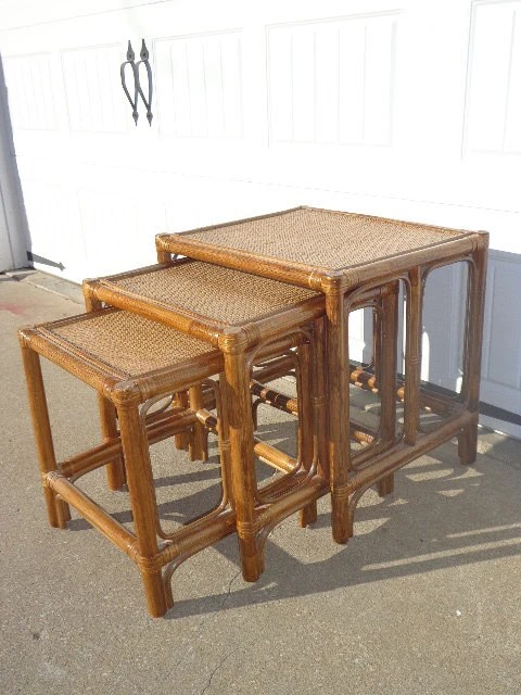 Rattan Nesting Tables ~ Set of vintage nesting tables faux bamboo rattan