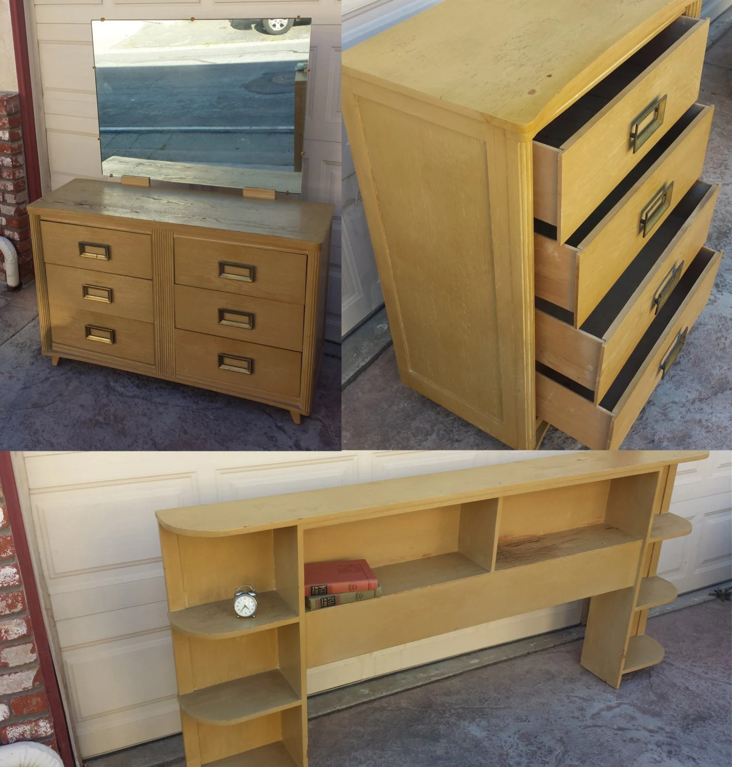 1950s Bedroom Set Dresser Vanity Headboard Haute Juice