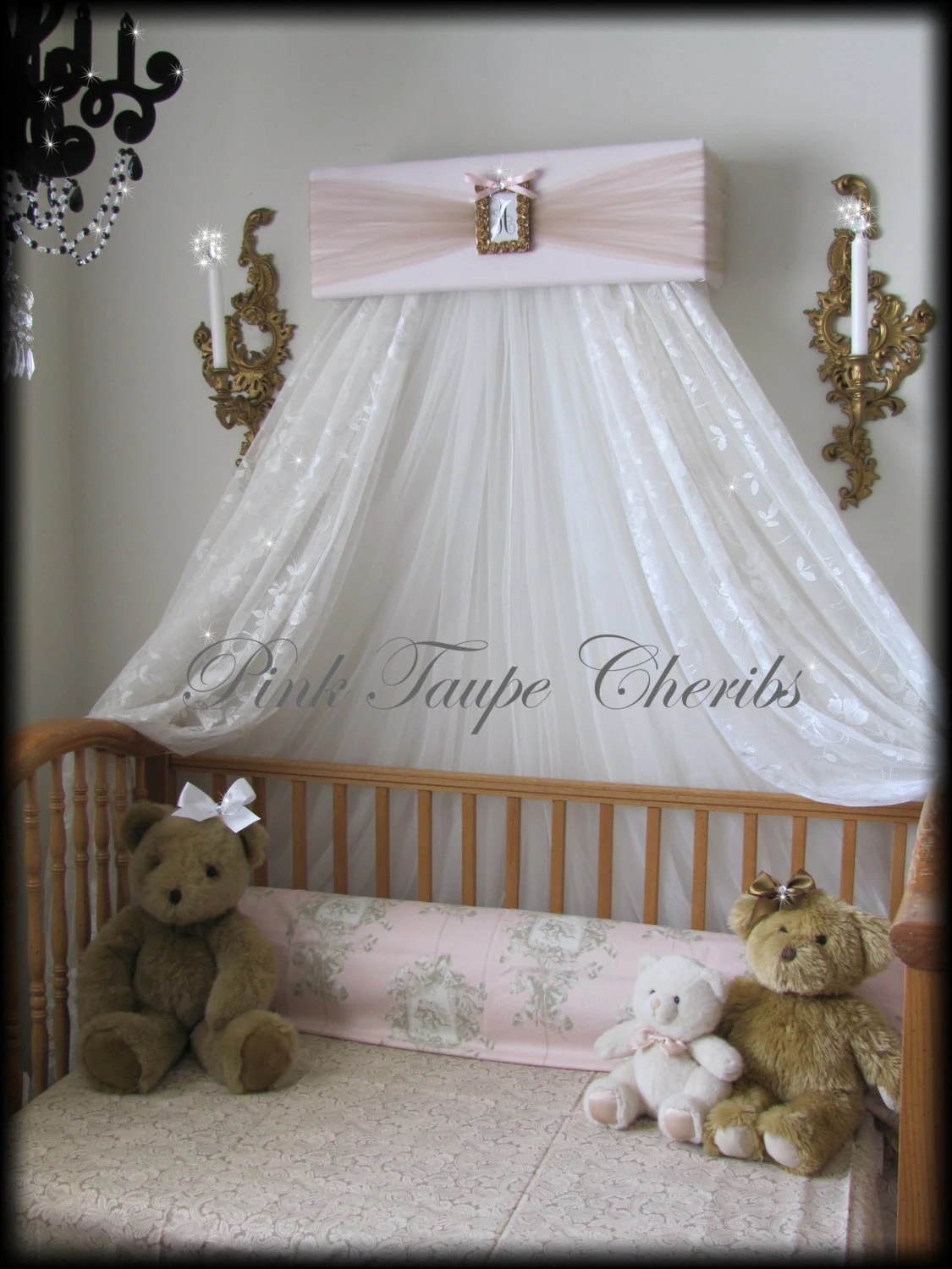 Crown Canopy Bed Pink Taupe Cherib Ivory Teester Princess on Wall Teester Bed Crown  id=19789