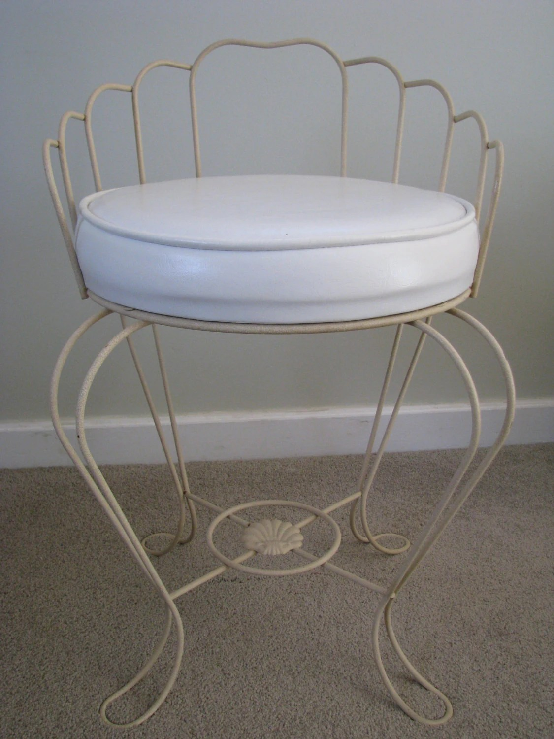 Vintage White Vinyl Padded Vanity Bench Stool Chair