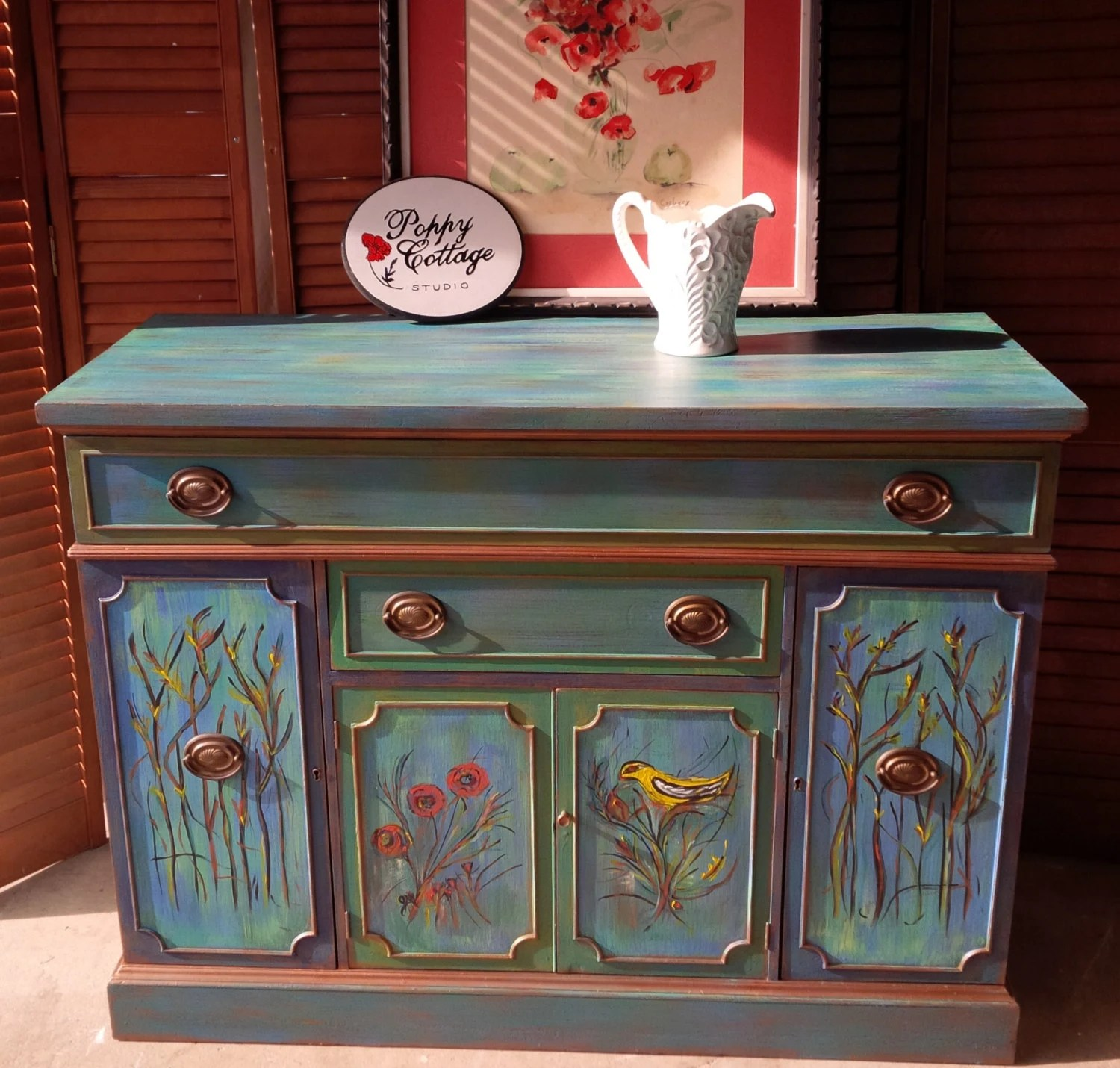 Credenza vintage mardi gras poppy cottage hand painted for Hand painted furniture