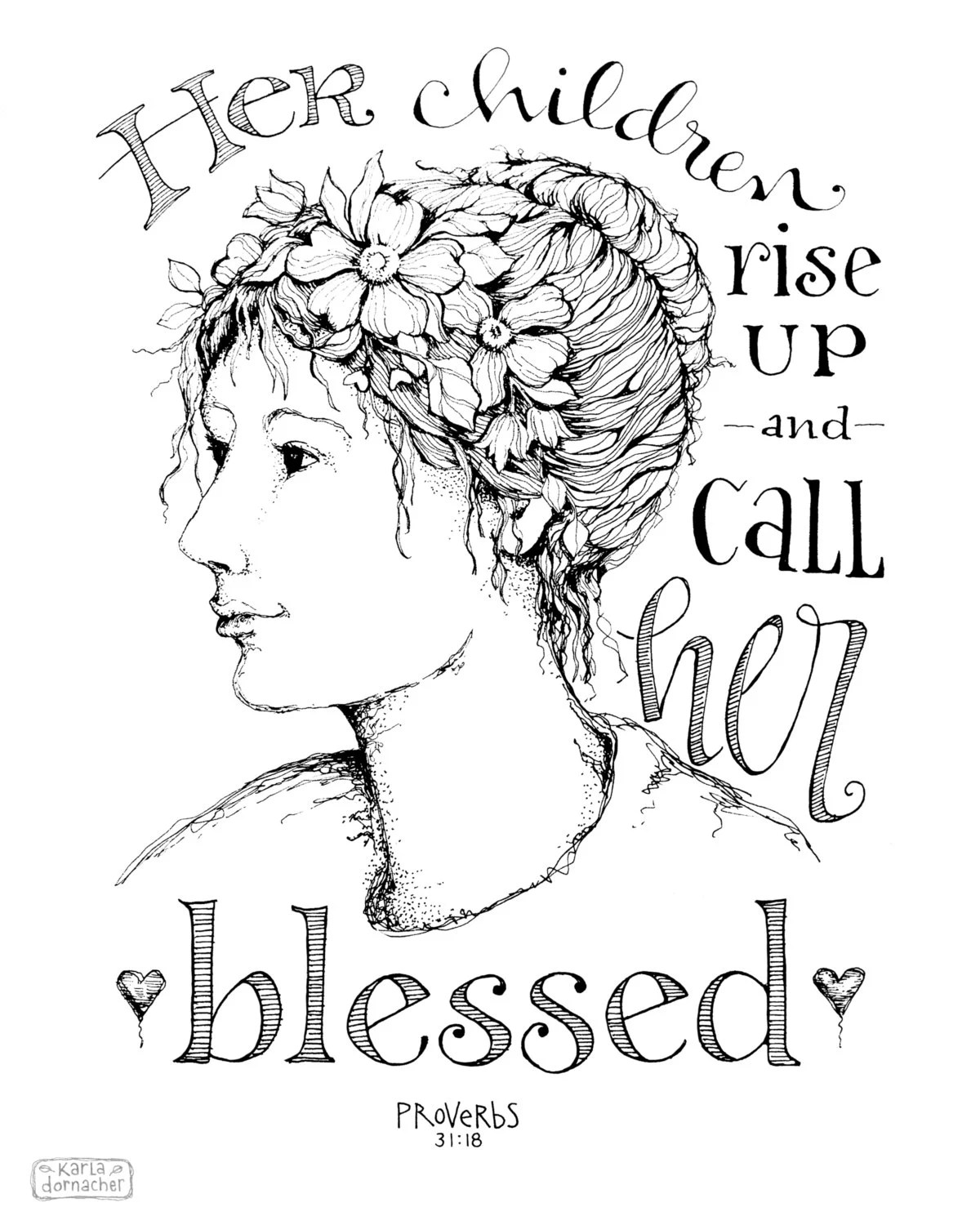 Her Children Rise Up 8x10 Art Print Mothers Day Proverbs 31
