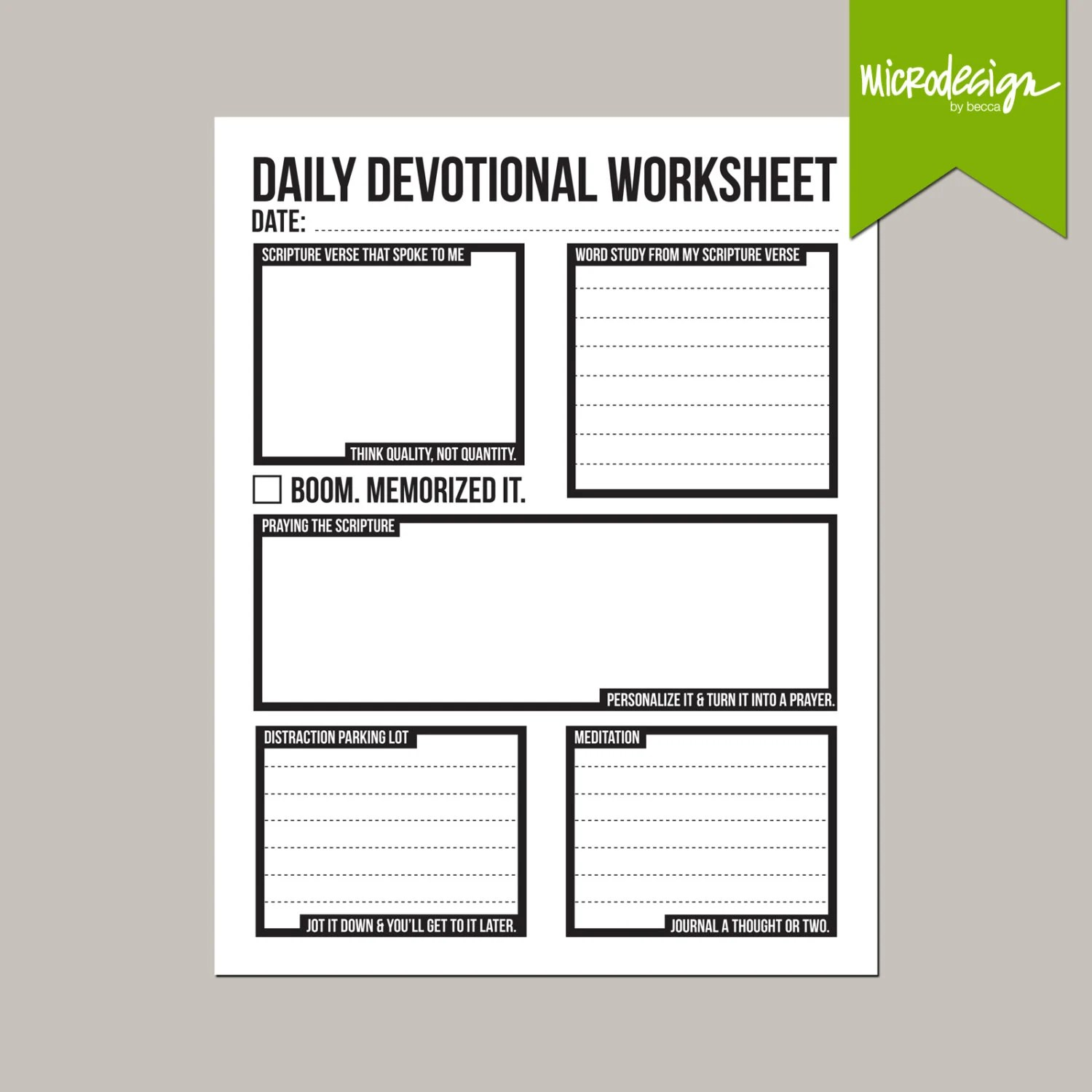 Daily Devotional Prayer And Scripture Study Worksheet