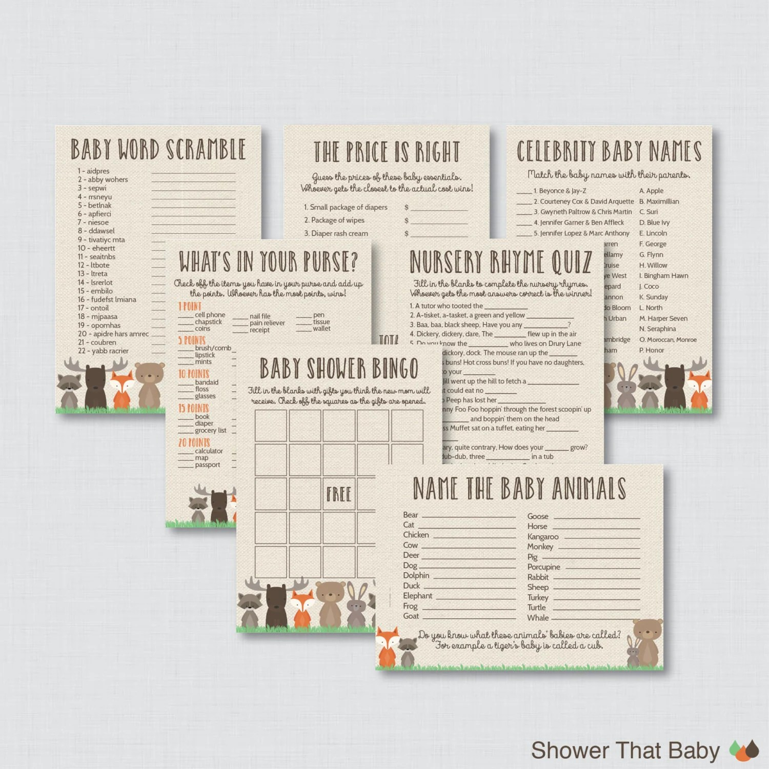 Woodland Baby Shower Games Package Seven Printable Games