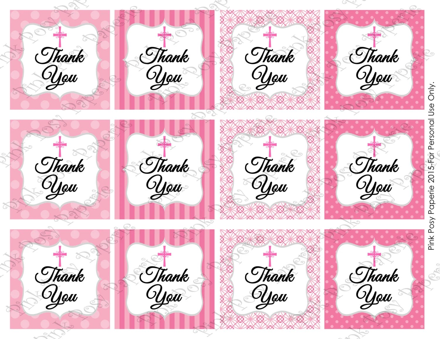 Printable Baptism First Communion Thank You By Pinkposypaperie