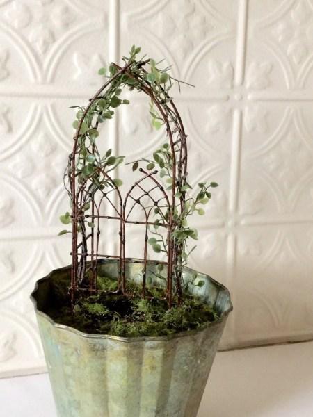 fairy garden trellises Miniature Fairy Garden Trellis with Angel Vine