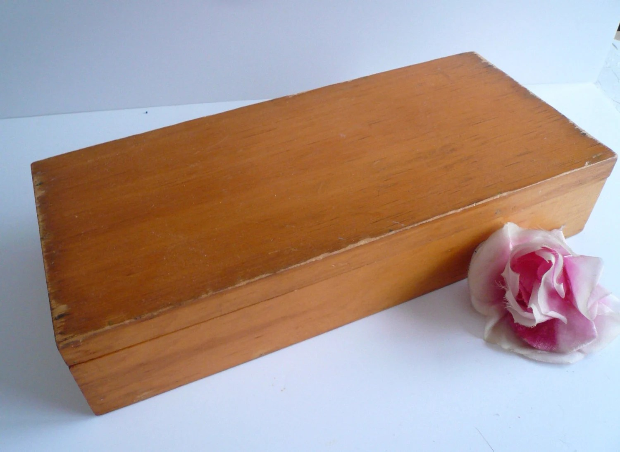 Wood Box Long Box Vintage Wood Box Storage Box