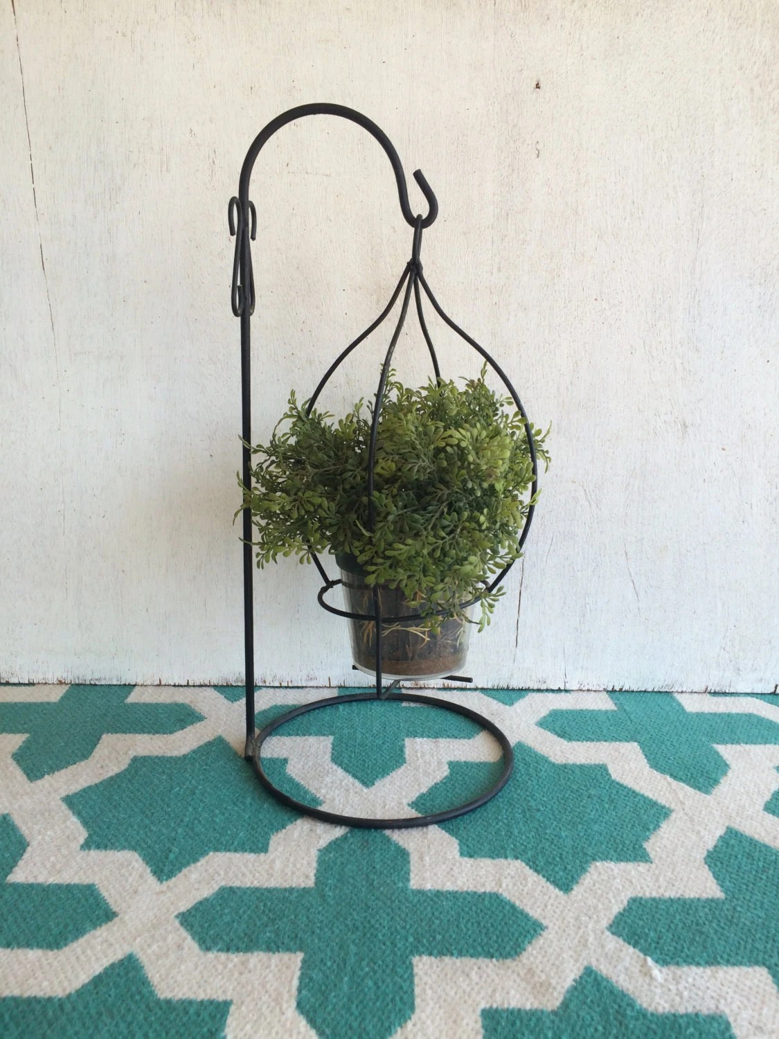 Vintage Metal Hanging Plant Holder on Plant Stand Hanging  id=60658