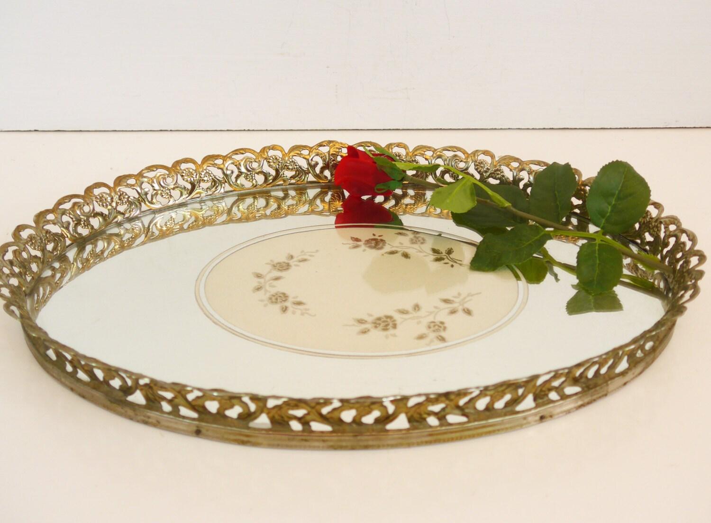 Vintage Oval Mirror Vanity Tray W/ Filigree Edging Mid Century