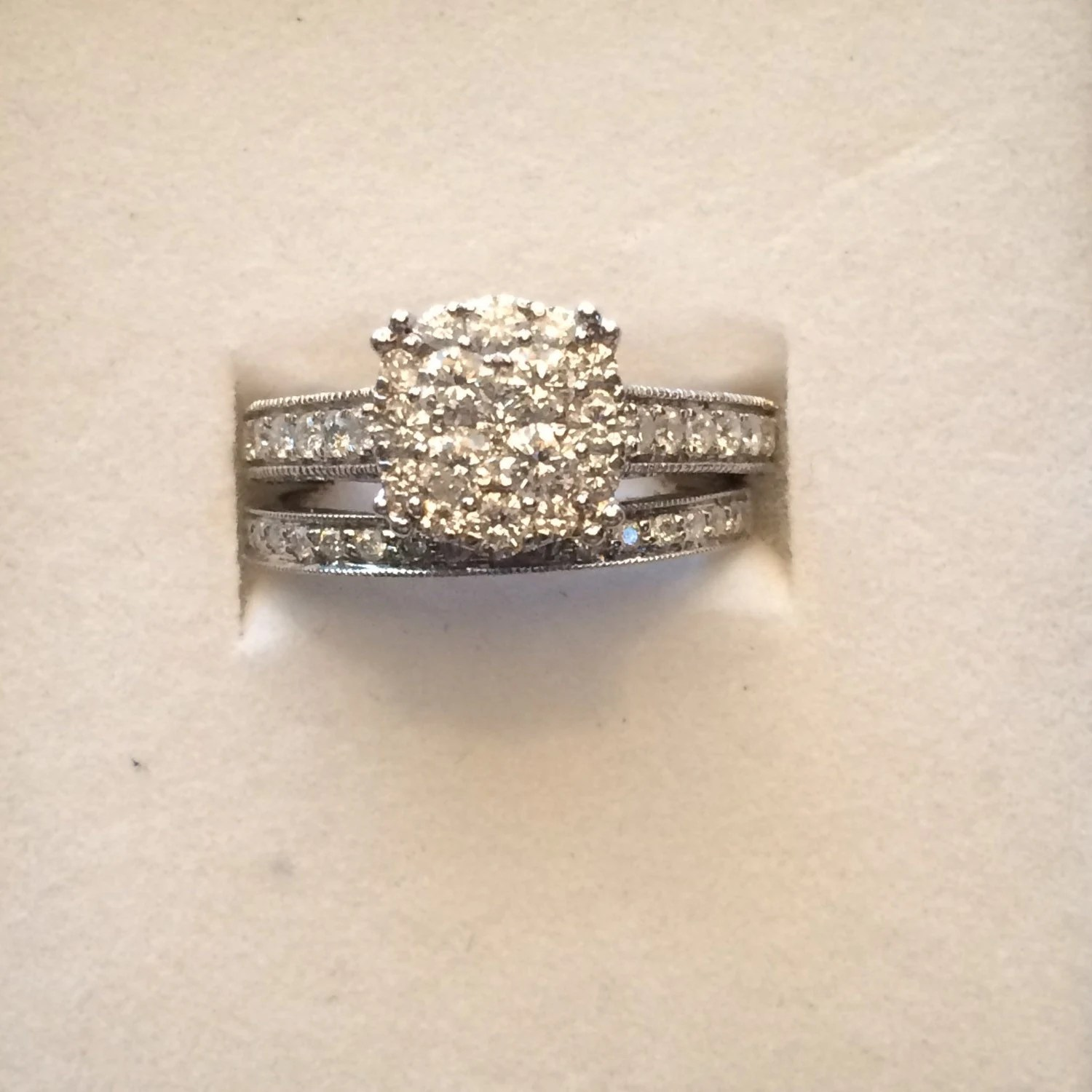Vintage Diamond Engagement Ring And Wedding Band Set With