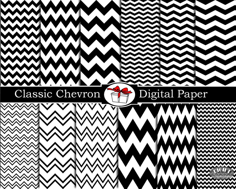 Black Paper And Chevron Digital White