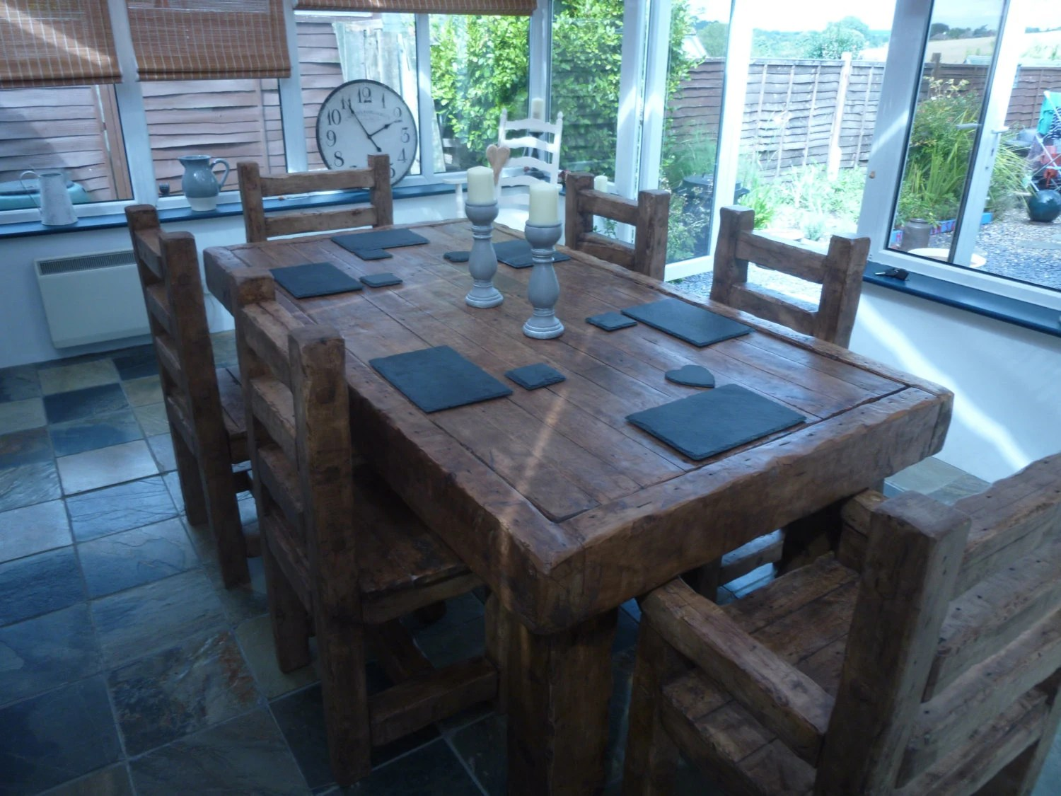 Rustic Handmade Dining Table With 6 Chairs Made Form Reclaimed