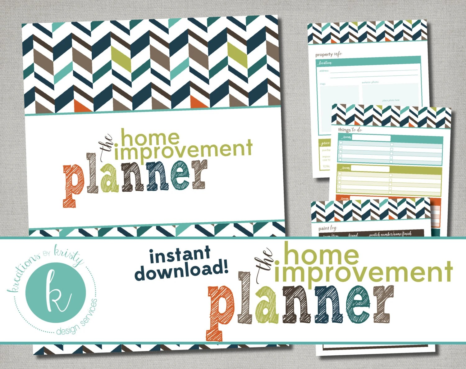Printable Home Improvement Planner Instant Digital Download