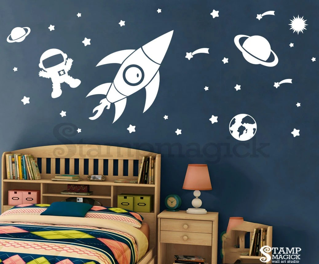 Outer Space Wall Decal Rocket Vinyl Wall Decor
