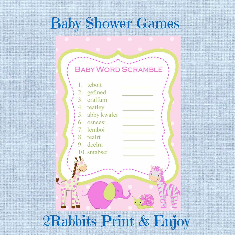 Safari Jungle Animal Girl Baby Shower Word Scramble With