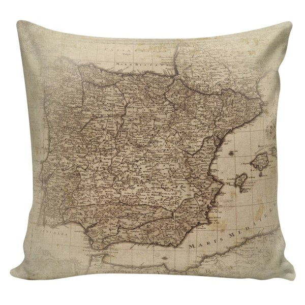 Decorative Cotton Pillow Cover Cushion Map of Spain