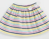 Baby and Toddler Organic Girls Multi-Color Striped Skirt with Bow - Fae