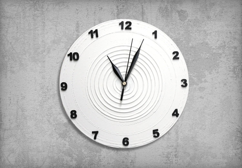 Items Similar To WHITE Clock Modern WALL CLOCK, White Wall
