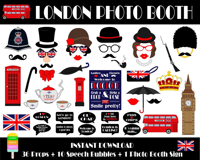 Printable London Photo Booth Props Printable Photo Booth