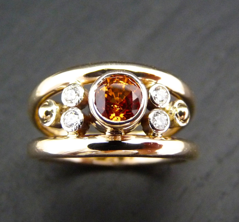 Sapphire Ring Orange Sapphire Rings Orange Stones Rings